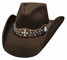 Bullhide In My Dreams Wool Cowgirl Hat: Make a statement flaunting this Bullhide hat. Brown hair-on hide… Brown Cowboy Hat, Felt Cowboy Hats, Cowgirl Hats, Western Hats, Cowgirl Style, Western Wear, Cowboy Boots, Western Style, Cowgirl Bling
