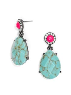 Love these! Turquoise Cancun Drops: A pop of hot pink and a halo of crystal punch up a pair of earthy organic earrings.
