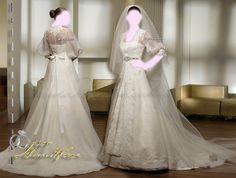 Saint Patrick , Long Sleeve Wedding Dresses Bridal Gown , Ivory SimPle Lace Chiffon Tulle , Idea , Jacket Bridal Wraps