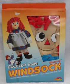 "NEW 1989 YARD AND GARDEN RAGGEDY ANN WINDSICAL WINDSOCK 26"" x 26"" - 3D Doll #Spectra"