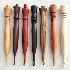 BQueen Collection Set of Custom Ergonomic Wood Crochet Hooks