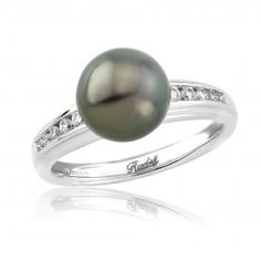 Rudells 18ct White Gold Black Pearl and Diamond Dress Ring - Small Image