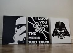 Set of 3 Three Hand Painted Canvas Black/White by AllysCustomArt