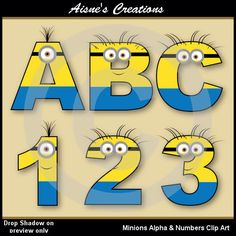 Minions Alphabet letters & Numbers Clip Art Graphics by AisnesCreations on Etsy https://www.etsy.com/listing/181696681/minions-alphabet-letters-numbers-clip