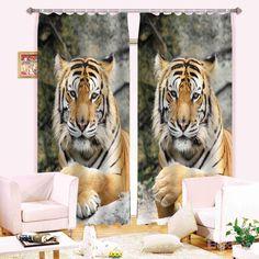 Realistic Symmetrical Tiger 3D Blackout Curtain