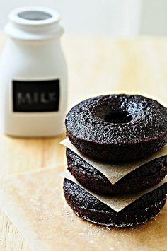 Dark Chocolate Fudge Doughnut Cakes
