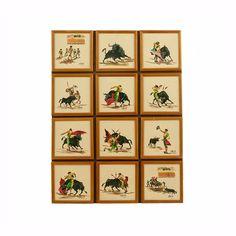 Vintage Bullfighting Painting Matador Original Mid Century Art Signed J. Vera The Story 12 Oil Paintings on Masonite Peruvian Art OOAK by PlumsandHoney on Etsy https://www.etsy.com/listing/281620890/vintage-bullfighting-painting-matador