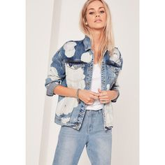 Missguided Bleached Drop Shoulder Denim Jacket ($77) ❤ liked on Polyvore featuring outerwear, jackets, blue, cotton jacket, bleached jean jacket, jean jacket, blue denim jacket and blue jackets