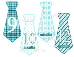 Preppy Baby Boy Monthly Onesie Tie Stickers by MyGraphicChic, $4.95