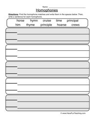homophones worksheet 1