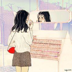 립스틱 정글(Lipstick Jungle) by 살구 on Grafolio Korean Aesthetic, Aesthetic Gif, Anime Gifs, Anime Art, Couple Illustration, Illustration Art, Liz Clements, Digital Art Girl, Aesthetic Drawing