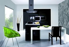 Kitchen : Minimalist And Elegant Decoration Also Black Chairs With Green Polimer Armchair And White Dining Table Besides Black Kitchen Counter Stainless Steel Cooker Hood Black Door Cabinets Cabinets With Microwave Storage Ceramic Kitchen Floor Black Pan Find Inspiration Kitchen Design Part 2 Wall Cabinets. Room Designs. Drawers Dining Table.