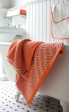 Orange and white bathroom