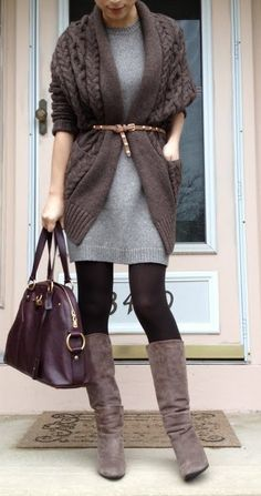 Layered sweater dress and cardy, with belt; easy-breezy