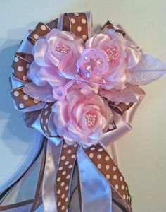 Brown and Pink Baby Shower Corsages by littlecreationz on Etsy, $29.00