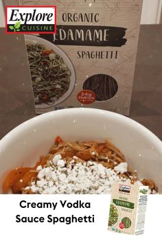 Low Carb Dinner Day! Try this savory recipe of Explore Cuisine's Edamame Spaghetti, Creamy Vodka Sauce, Fire Roasted Peppers, and a Goat Cheese topping! Edamame Spaghetti, Sauce Spaghetti, Creamy Vodka Sauce, Roasted Peppers, Penne, Goat Cheese, Plant Based Recipes, Low Carb, Fire