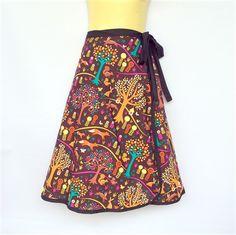 Ladies Wrap Around Skirt - retro tree, flower, fox & squirrel print - sizes 8-18