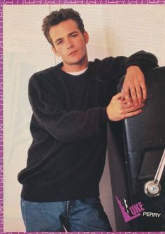 Luke Perry serious pinup Watch Riverdale, Mark Paul Gosselaar, Jonathan Taylor Thomas, Joey Lawrence, Luke Perry, Patrick Swayze, Beverly Hills 90210, Cameron Boyce, Together Forever