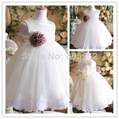 2014 Beautiful ball Gown With beaded Hot Sale Girls Pageant Party Dress Organza Flower Girl Dresses Appliques Custom-made FD19 $64.99