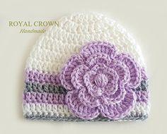 Newborn Girl HatBaby Girl HatCrochet Baby by RoyalCrownHandmade