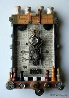 Box Art Assemblage  Buttons & Beads  Found Object by redhardwick $165.00 + shipping.