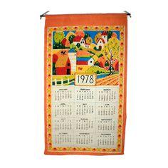 1978 Country Scene Linen Tea Towel Calendar - Vintage Kitchen Wall Calendar - Perisian Prints Kitchen Towel by BatnKatArtifacts