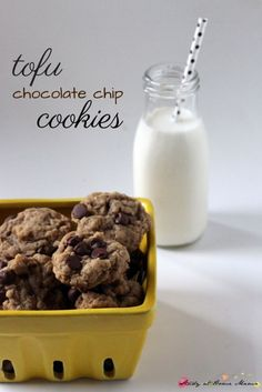 Tofu Chocolate Chip Cookies - a decadent, crunchy-chewy and vegan chocolate chip cookie that you won't believe has no butter, eggs, or milk!