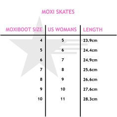 Just a reminder about Moxi Skate sizes