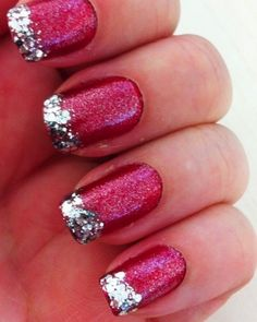 silver + red + glitter tips #nails