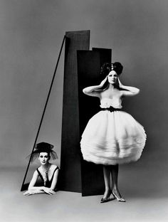 RICHARD AVEDON (1923-2004) Dovima and Betsy Pickering, dresses by Lanvin-Castillo, Paris studio, August 1958.  @headswillrollbaby | facebook.