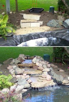DIY Garden Waterfalls Ideas Tutorials! Including this nice diy waterfall project from passion for ponds. #Ponds