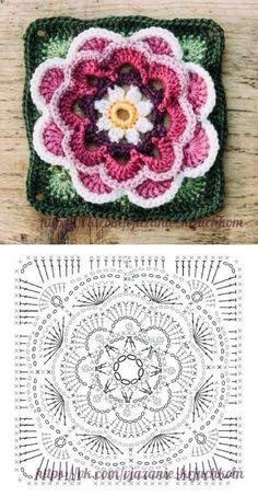 Transcendent Crochet a Solid Granny Square Ideas. Inconceivable Crochet a Solid Granny Square Ideas. Crochet Mandala Pattern, Crochet Motifs, Crochet Blocks, Granny Square Crochet Pattern, Crochet Diagram, Crochet Chart, Crochet Squares, Love Crochet, Crochet Granny