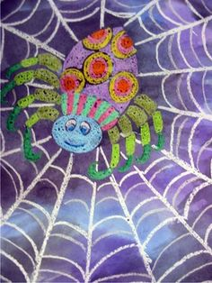 Spider Art - Line, repetition, pattern, watercolor resist.