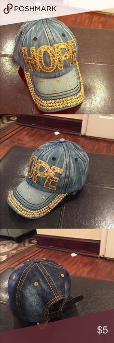 BLING HAT DENIM HAT WITH RHINESTONE DETAILS. Accessories Hats