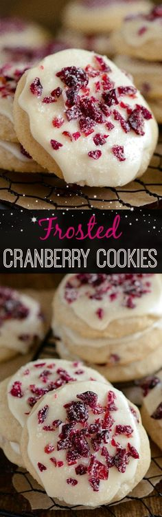 Frosted Cranberry Cookies - sweet soft cranberry shortbread cookies with vanilla cranberry icing! Frosted Cranberry Cookies - sweet soft cranberry shortbread cookies with vanilla cranberry icing! Mini Desserts, Holiday Desserts, Holiday Baking, Just Desserts, Holiday Recipes, Delicious Desserts, Christmas Recipes, Holiday Foods, Winter Recipes