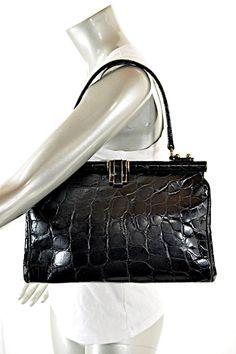 Vintage Fabulous Black Alligator Skin Leather Shoulder Bag c515ce9e405d2