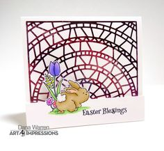 Art Impressions Rubber Stamps: 4886 – Easter Blessings ... handmade card with bunny.