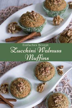 Ein einfaches Rezept für Muffins mit Zucchini, Walnuss und Zimt. Die Zubereitung ist schnell und man benötigt nicht zu viele Zutaten. #rezept #muffin #zucchini #walnuss