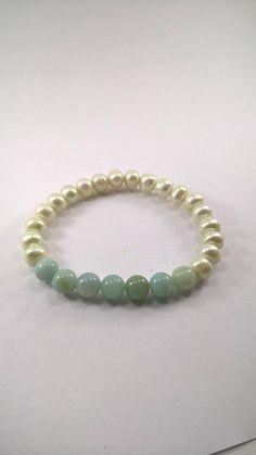 Amazonite and Pearl Stretchy Bracelet Pearl Bracelet