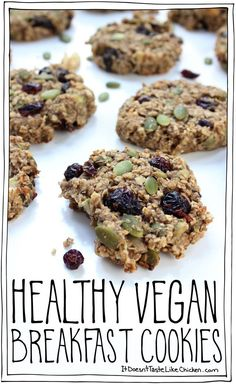 Healthy Vegan Breakfast Cookies are a one bowl, easy to whip up snack that's the perfect, easy treat for the on the go breakfast.