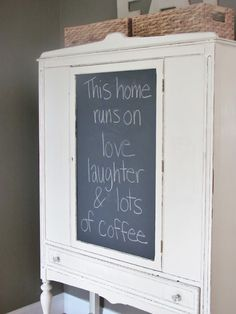 City Farmhouse: Chalkboard Contact Paper Hutch Makeover