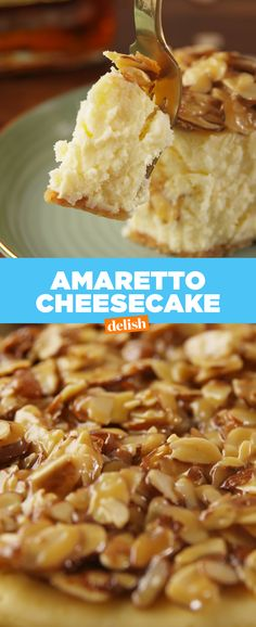 Amaretto lovers: this cheesecake was made for you. Get the recipe at Delish.com. #amaretto #almond #dessert #recipe #easyrecipe #delish #cheesecake #creamcheese