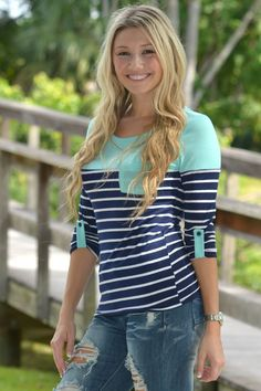 GIRL CODE Mint Stripe 3/4 sleeve top Shop Simply Me –boutique – www.SHOPSIMPLYME.com - #ishopsimplyme – Naples, FL