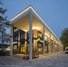 Arcade, Hamburg, Germany Arcade Architecture, Light Architecture, Architecture Design, Building Elevation, Building Exterior, Building Design, Facade Lighting, Exterior Lighting, Outdoor Lighting