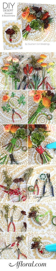 Learn how to make a DIY bouquet and boutonniere for your desert, southwestern, or bohemian themed wedding. Designed by Southern Girl Weddings with faux flowers from afloral.com #diywedding