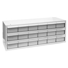 Fast shipping and best price on Buyers 5411018 18 Drawer Parts Cabinet from RCPW. Shop online Store and index hardware or small parts. Injection molded plastic drawers with stops. Includes two dividers per drawer. Plastic Storage Cabinets, Plastic Drawers, Storage Drawers, Van Storage, Tool Storage, Garage Storage, Storage Organization, Truck Bed Box, Truck Bed Storage