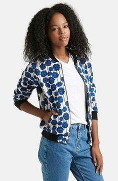19a4d33c846 Topshop Blue White Floral Shoto Bomber Jacket Sz 2  fashion  clothing  shoes