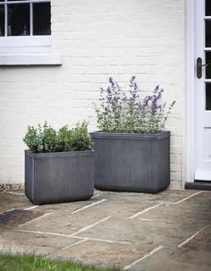 Tall and elegant in style, this set of 2 Rectangular Planters provide perfect planting space for use throughout the garden. Outdoor Planters, Garden Planters, Outdoor Gardens, Container Garden, Back Garden Design, Backyard Garden Design, Rectangle Garden Design, Front Gardens, Small Gardens