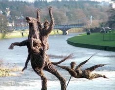 The willow sculpture of Tam, his horse and the witch on the River Nith