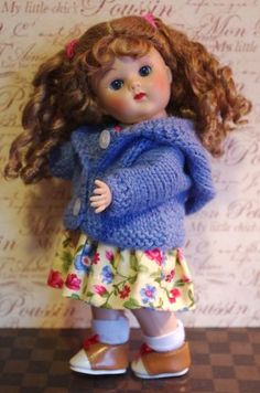 "~ViSioN iN BLuE...~ A special hand knitted hooded sweater/cardigan in a gorgeous blue tone for your Ginny, Muffie, Ginger, or Madame Alexander 7.5-8"" dolls. All ORIGINAL and at my Ebay store now! Click pix to take you there..."